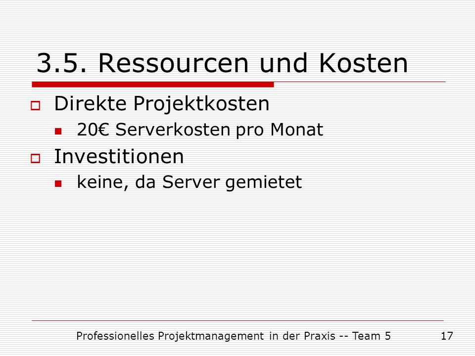 Professionelles Projektmanagement in der Praxis -- Team 517 3.5. Ressourcen und Kosten  Direkte Projektkosten 20€ Serverkosten pro Monat  Investitio