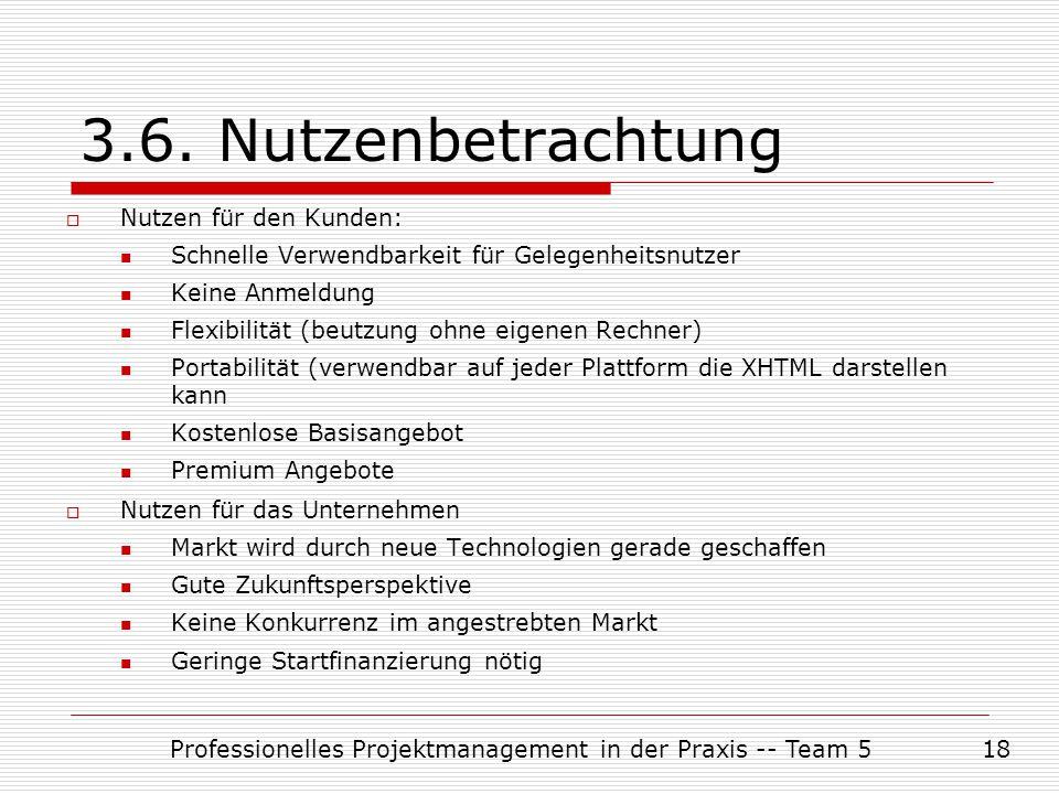 Professionelles Projektmanagement in der Praxis -- Team 518 3.6. Nutzenbetrachtung  Nutzen für den Kunden: Schnelle Verwendbarkeit für Gelegenheitsnu