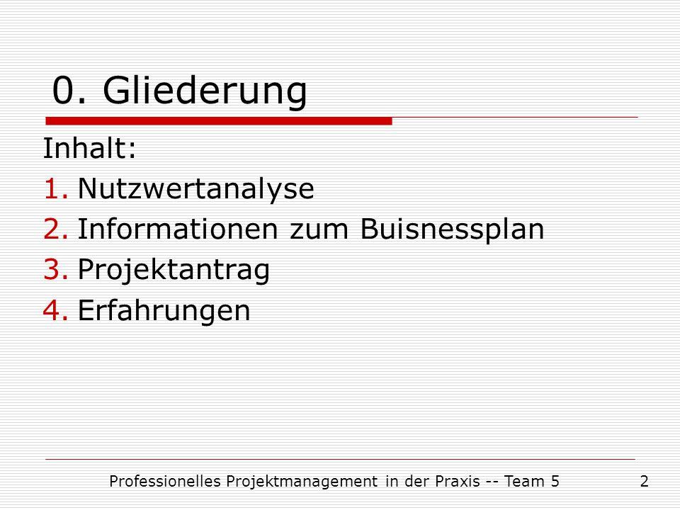 Professionelles Projektmanagement in der Praxis -- Team 52 0. Gliederung Inhalt: 1.Nutzwertanalyse 2.Informationen zum Buisnessplan 3.Projektantrag 4.