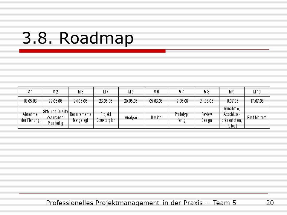 Professionelles Projektmanagement in der Praxis -- Team 520 3.8. Roadmap