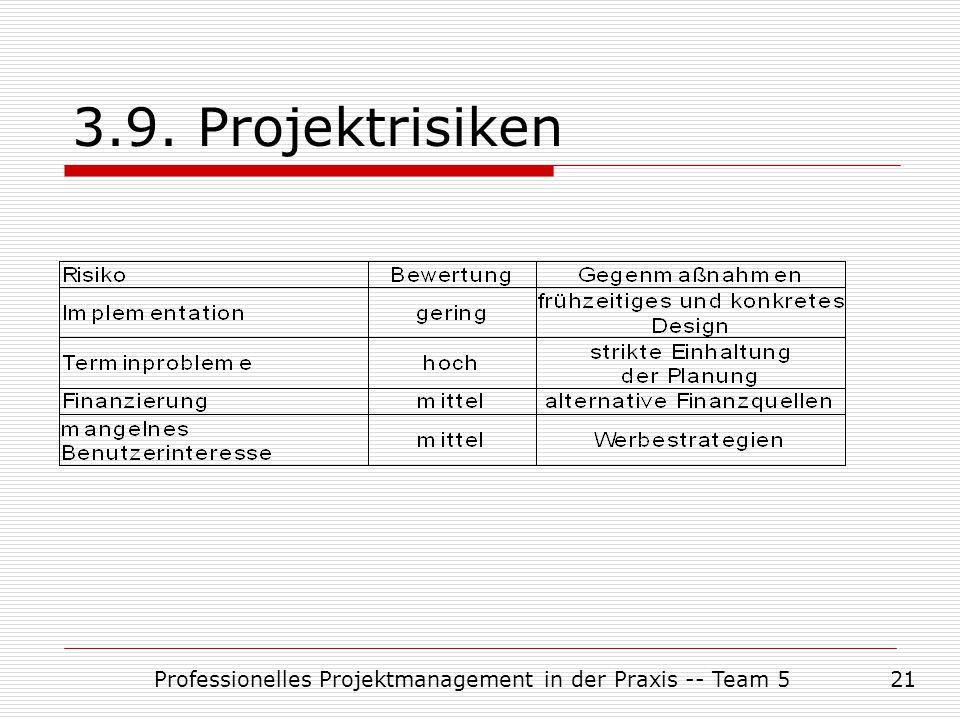 Professionelles Projektmanagement in der Praxis -- Team 521 3.9. Projektrisiken
