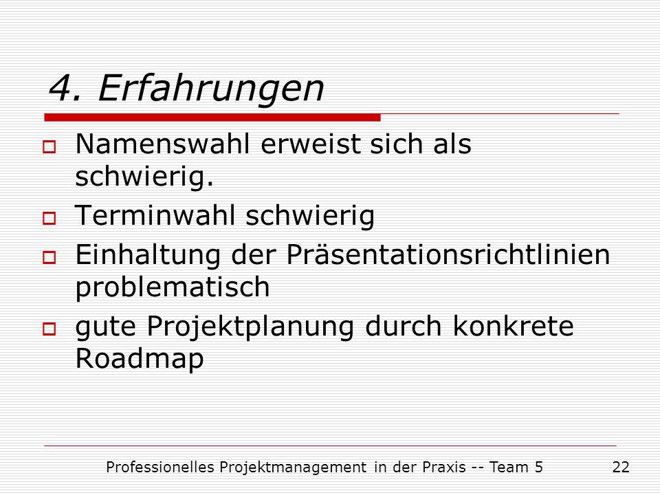 Professionelles Projektmanagement in der Praxis -- Team 522  Namenswahl erweist sich als schwierig.  Terminwahl schwierig  Einhaltung der Präsentat