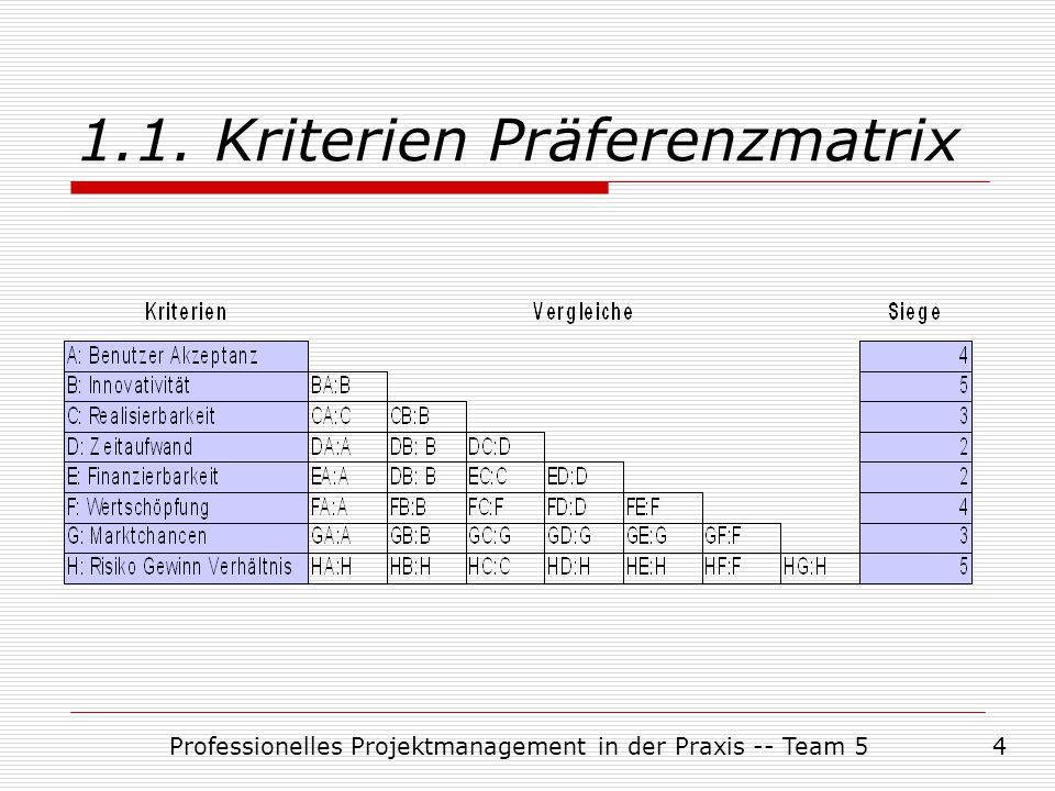 Professionelles Projektmanagement in der Praxis -- Team 54 1.1. Kriterien Präferenzmatrix
