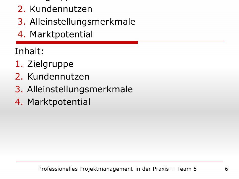 Professionelles Projektmanagement in der Praxis -- Team 56 Inhalt: 1.Zielgruppe 2.Kundennutzen 3.Alleinstellungsmerkmale 4.Marktpotential Inhalt: 1.Zi