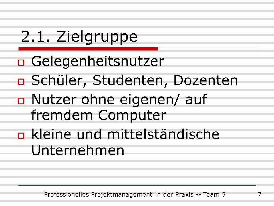 Professionelles Projektmanagement in der Praxis -- Team 57 2.1. Zielgruppe  Gelegenheitsnutzer  Schüler, Studenten, Dozenten  Nutzer ohne eigenen/