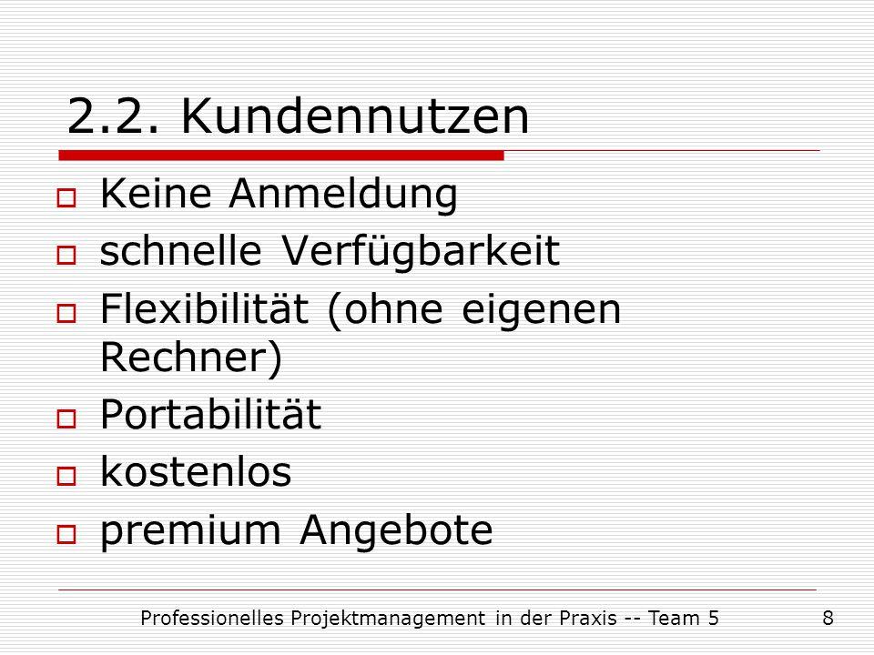 Professionelles Projektmanagement in der Praxis -- Team 58 2.2. Kundennutzen  Keine Anmeldung  schnelle Verfügbarkeit  Flexibilität (ohne eigenen R