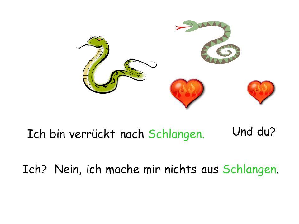 Ich bin verrückt nach Schlangen. Und du? Ich? Nein, ich mache mir nichts aus Schlangen.