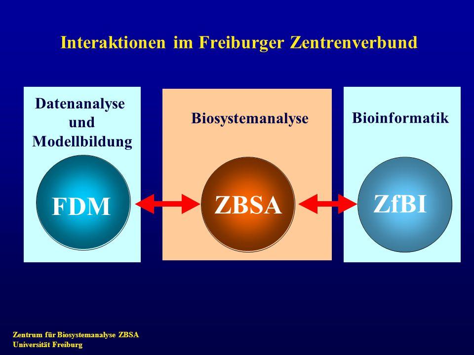 Zentrum für Biosystemanalyse ZBSA Universität Freiburg Interaktionen im Freiburger Zentrenverbund ZBSA Zentrumfür Biosystem- analyse ZfBI Zentrumfür Bioinformatik FDM ZBSA ZfBI Biosystemanalyse Datenanalyse und Modellbildung Bioinformatik