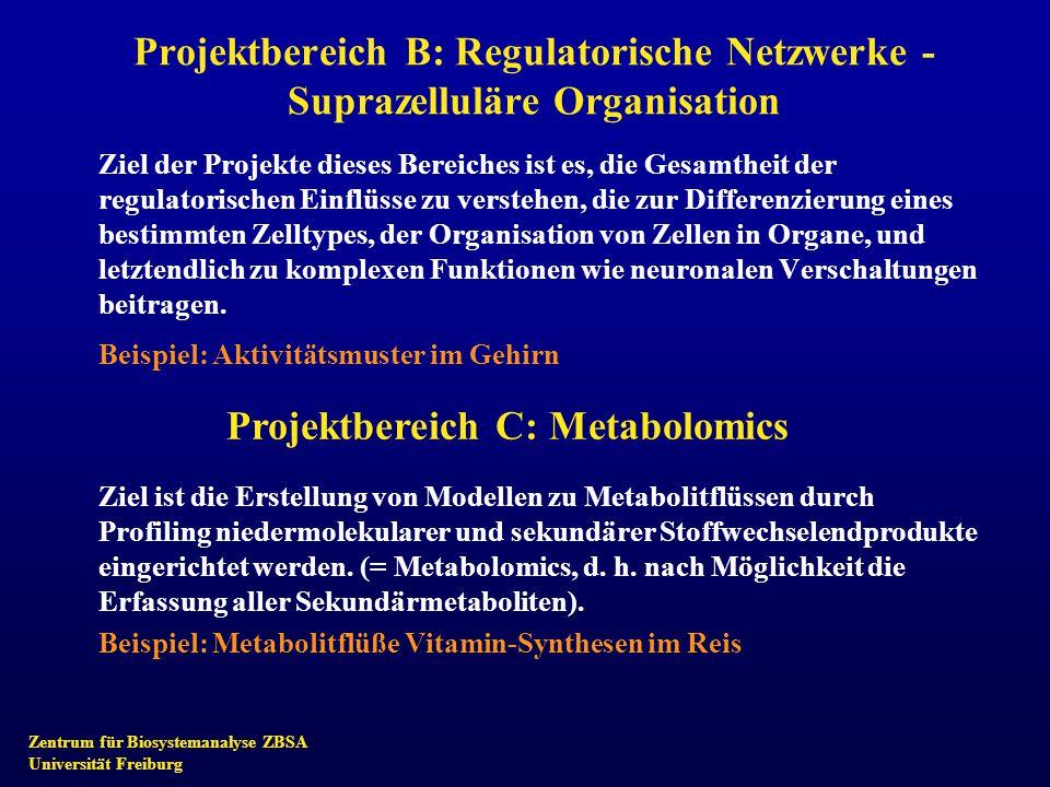 Zentrum für Biosystemanalyse ZBSA Universität Freiburg Projektbereich B: Regulatorische Netzwerke - Suprazelluläre Organisation Ziel der Projekte dies