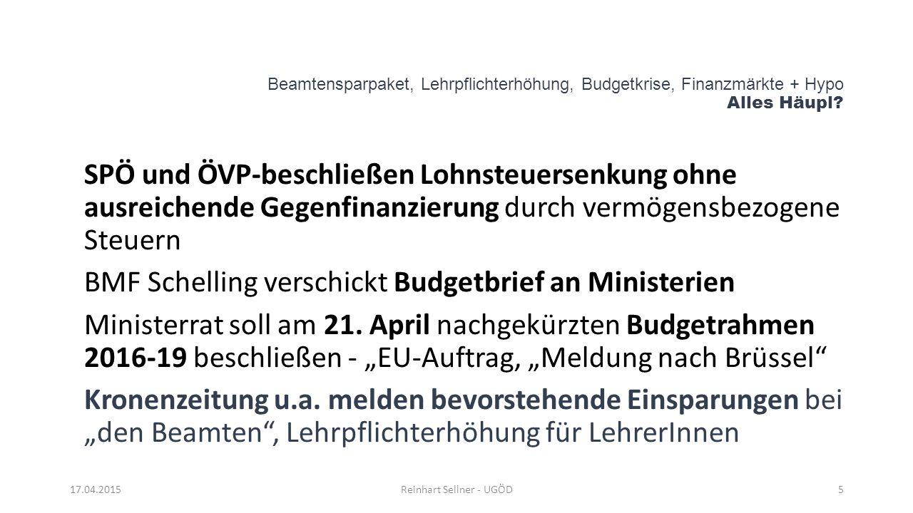 Beamtensparpaket, Lehrpflichterhöhung, Budgetkrise, Finanzmärkte + Hypo Alles Häupl? SPÖ und ÖVP-beschließen Lohnsteuersenkung ohne ausreichende Gegen