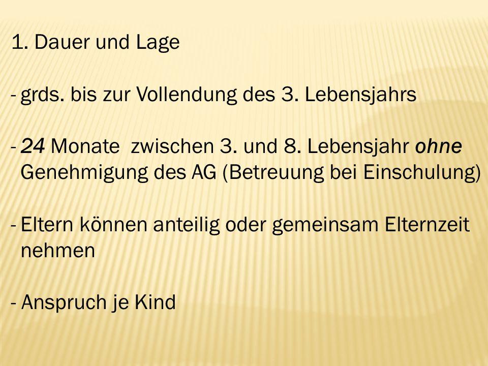 1. Dauer und Lage -grds. bis zur Vollendung des 3. Lebensjahrs -24 Monate zwischen 3. und 8. Lebensjahr ohne Genehmigung des AG (Betreuung bei Einschu