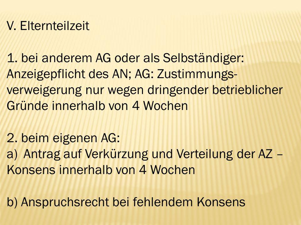 V. Elternteilzeit 1. bei anderem AG oder als Selbständiger: Anzeigepflicht des AN; AG: Zustimmungs- verweigerung nur wegen dringender betrieblicher Gr