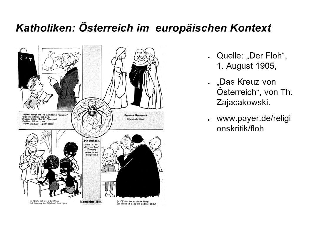 """Katholiken: Österreich im europäischen Kontext ● Quelle: """"Der Floh"""", 1. August 1905, ● """"Das Kreuz von Österreich"""", von Th. Zajacakowski. ● www.payer.d"""