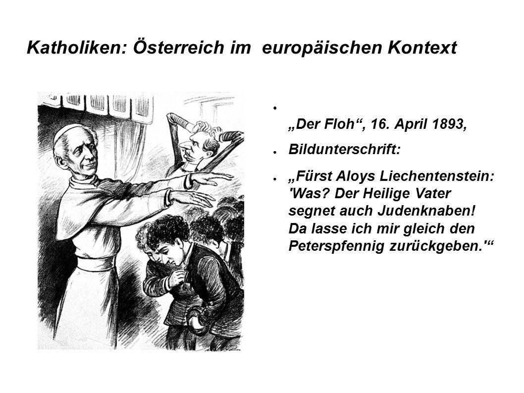 """Katholiken: Österreich im europäischen Kontext ● """"Der Floh"""", 16. April 1893, ● Bildunterschrift: ● """"Fürst Aloys Liechentenstein: 'Was? Der Heilige Vat"""