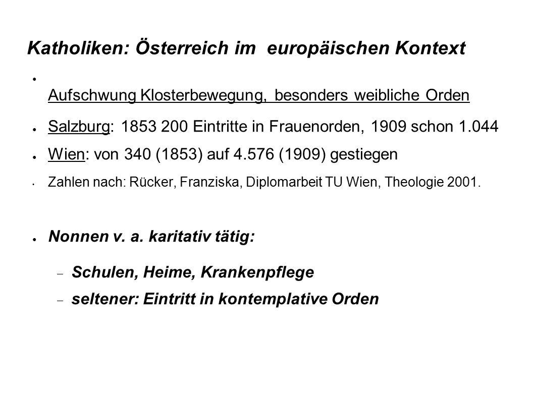 Katholiken: Österreich im europäischen Kontext ● Aufschwung Klosterbewegung, besonders weibliche Orden ● Salzburg: 1853 200 Eintritte in Frauenorden,