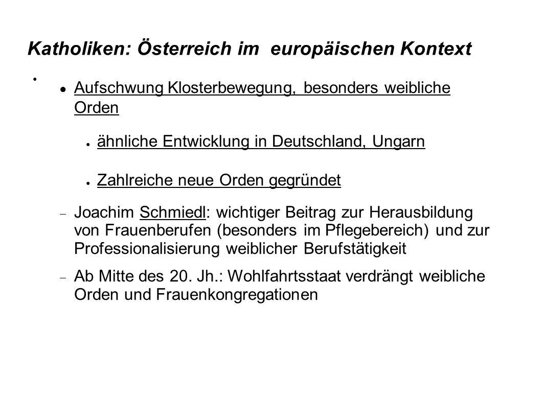 Katholiken: Österreich im europäischen Kontext ● Aufschwung Klosterbewegung, besonders weibliche Orden ● ähnliche Entwicklung in Deutschland, Ungarn ●