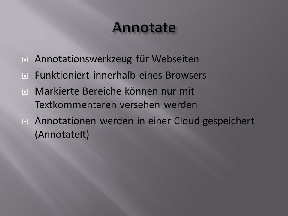 Annotationswerkzeug für Webseiten  Funktioniert innerhalb eines Browsers  Markierte Bereiche können nur mit Textkommentaren versehen werden  Annotationen werden in einer Cloud gespeichert (AnnotateIt)