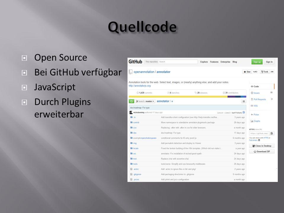  Open Source  Bei GitHub verfügbar  JavaScript  Durch Plugins erweiterbar