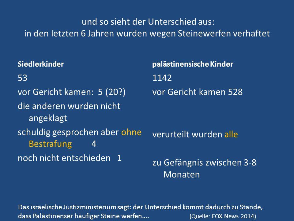 und so sieht der Unterschied aus: in den letzten 6 Jahren wurden wegen Steinewerfen verhaftet Siedlerkinder 53 vor Gericht kamen: 5 (20?) die anderen
