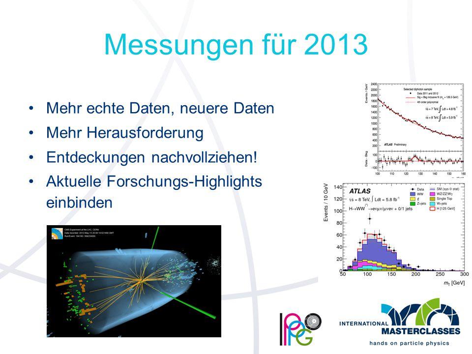 Messungen für 2013 Mehr echte Daten, neuere Daten Mehr Herausforderung Entdeckungen nachvollziehen.