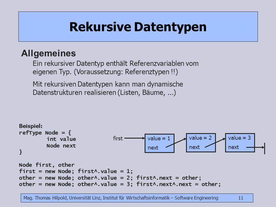 Mag. Thomas Hilpold, Universität Linz, Institut für Wirtschaftsinformatik – Software Engineering 11 Rekursive Datentypen Allgemeines Ein rekursiver Da