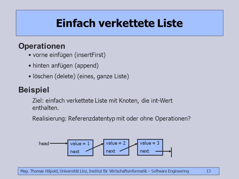 Mag. Thomas Hilpold, Universität Linz, Institut für Wirtschaftsinformatik – Software Engineering 13 Einfach verkettete Liste Operationen vorne einfüge