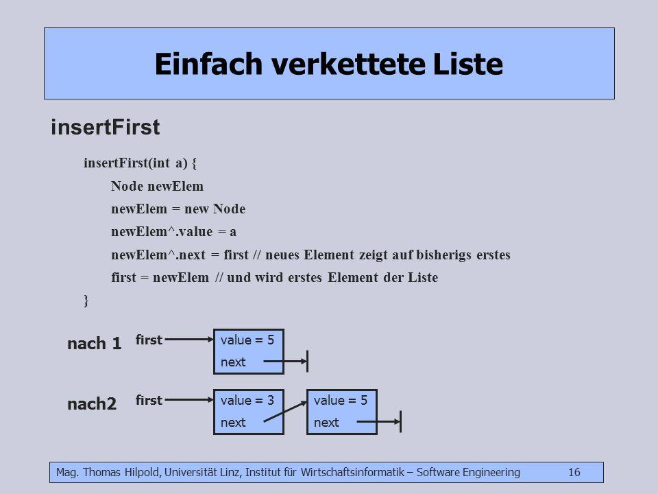 Mag. Thomas Hilpold, Universität Linz, Institut für Wirtschaftsinformatik – Software Engineering 16 Einfach verkettete Liste insertFirst value = 5 nex