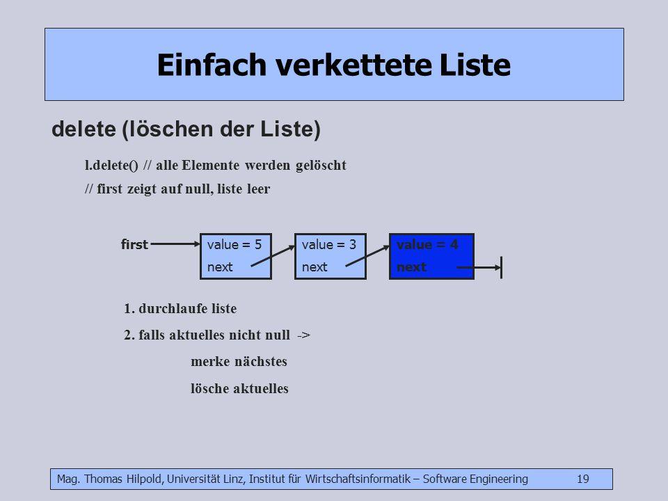 Mag. Thomas Hilpold, Universität Linz, Institut für Wirtschaftsinformatik – Software Engineering 19 Einfach verkettete Liste delete (löschen der Liste