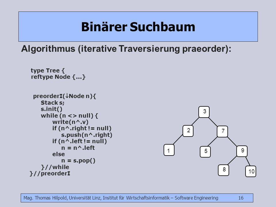 Mag. Thomas Hilpold, Universität Linz, Institut für Wirtschaftsinformatik – Software Engineering 16 Binärer Suchbaum Algorithmus (iterative Traversier
