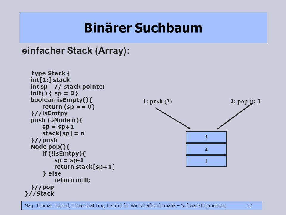 Mag. Thomas Hilpold, Universität Linz, Institut für Wirtschaftsinformatik – Software Engineering 17 Binärer Suchbaum einfacher Stack (Array): type Sta