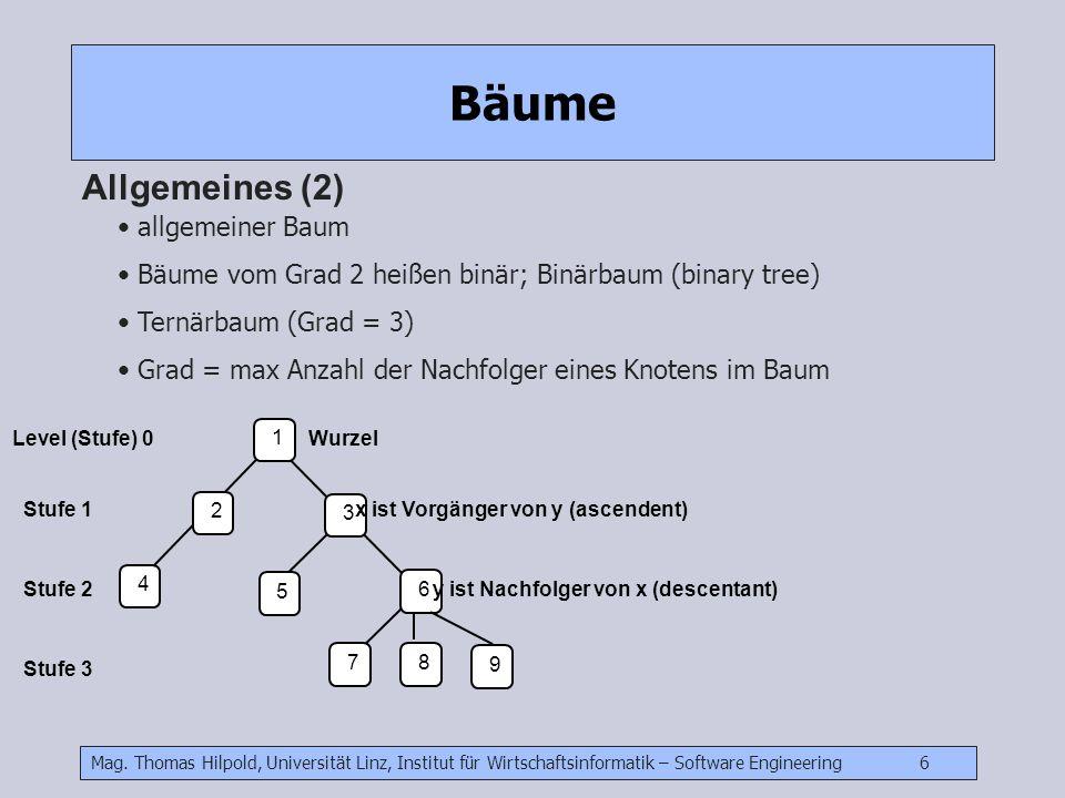 Mag. Thomas Hilpold, Universität Linz, Institut für Wirtschaftsinformatik – Software Engineering 6 Bäume Allgemeines (2) allgemeiner Baum Bäume vom Gr