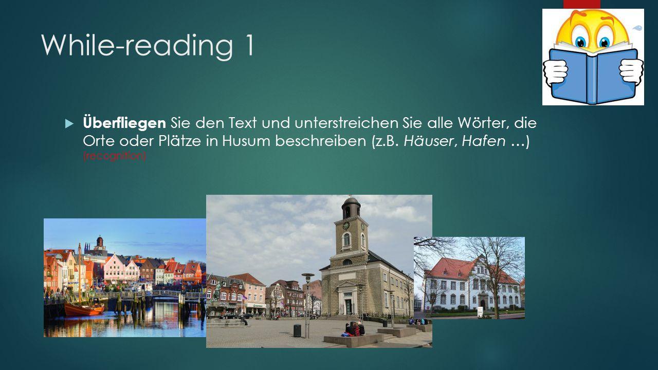 While-reading 1  Überfliegen Sie den Text und unterstreichen Sie alle Wörter, die Orte oder Plätze in Husum beschreiben (z.B.