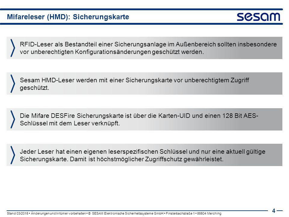 Mifareleser (HMD): Sicherungskarte 4 RFID-Leser als Bestandteil einer Sicherungsanlage im Außenbereich sollten insbesondere vor unberechtigten Konfigurationsänderungen geschützt werden.
