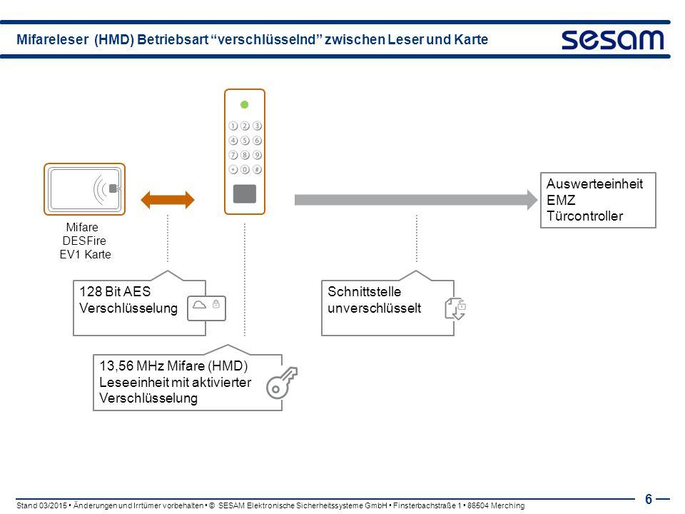 """Mifareleser (HMD) Betriebsart """"verschlüsselnd"""" zwischen Leser und Karte 6 Mifare DESFire EV1 Karte 128 Bit AES Verschlüsselung Stand 03/2015 Änderunge"""