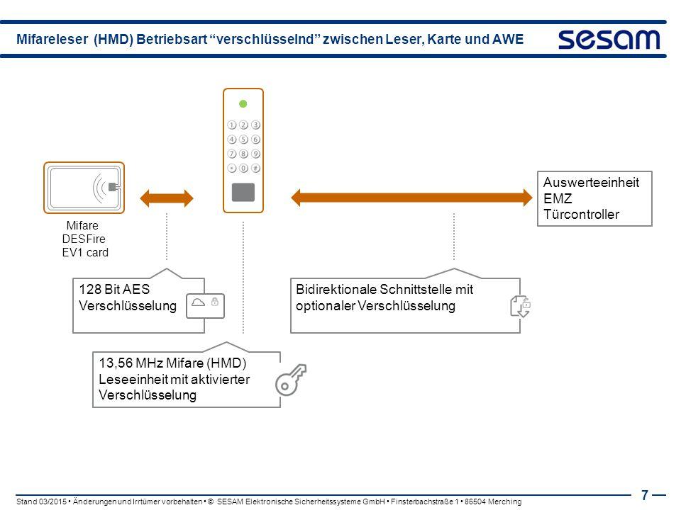 """Mifareleser (HMD) Betriebsart """"verschlüsselnd"""" zwischen Leser, Karte und AWE 7 Mifare DESFire EV1 card 128 Bit AES Verschlüsselung Bidirektionale Schn"""