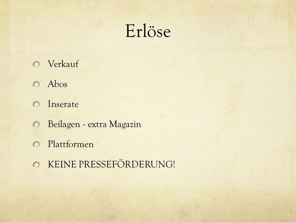 Erlöse Verkauf Abos Inserate Beilagen - extra Magazin Plattformen KEINE PRESSEFÖRDERUNG!