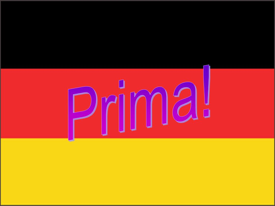 Question 14 Which 3 colours appear on the German Flag? a) Red, black and green b) Black, red and yellow c) Yellow, red and white d) Green, black and y