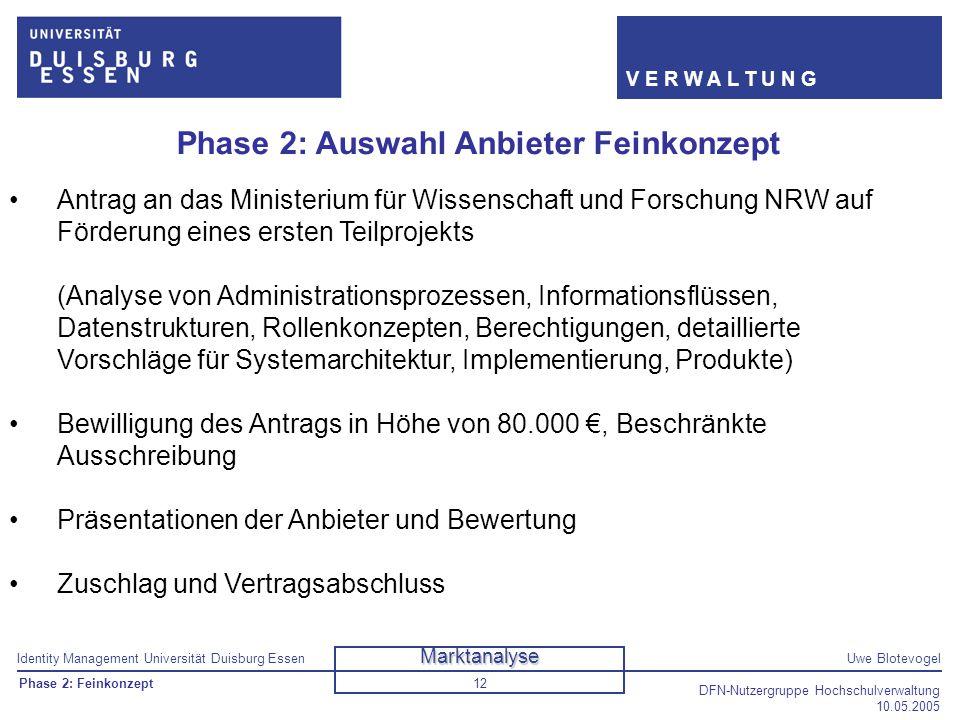 Identity Management Universität Duisburg EssenUwe Blotevogel V E R W A L T U N G DFN-Nutzergruppe Hochschulverwaltung 10.05.2005 12 Phase 2: Auswahl A