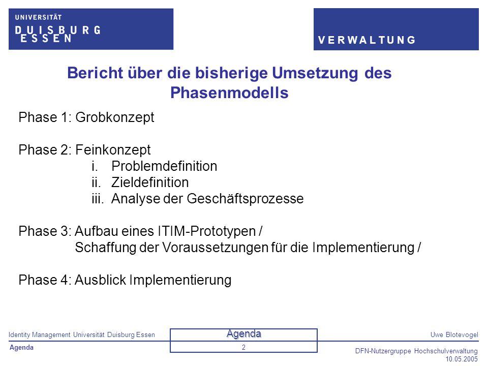 Identity Management Universität Duisburg EssenUwe Blotevogel V E R W A L T U N G DFN-Nutzergruppe Hochschulverwaltung 10.05.2005 2 Bericht über die bi