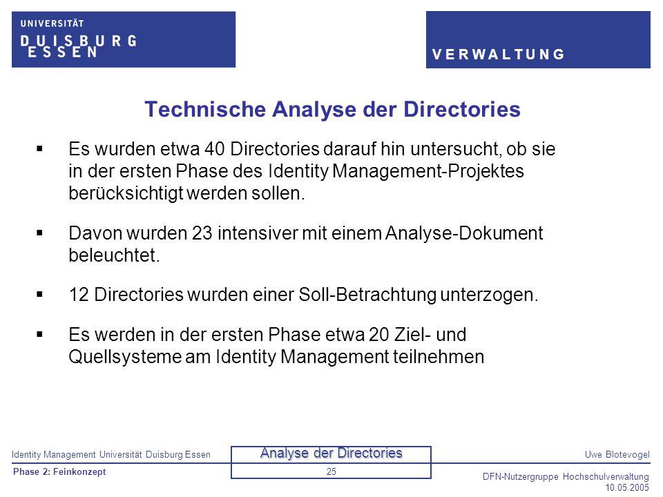 Identity Management Universität Duisburg EssenUwe Blotevogel V E R W A L T U N G DFN-Nutzergruppe Hochschulverwaltung 10.05.2005 25 Technische Analyse