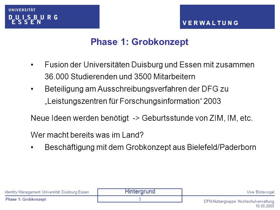 Identity Management Universität Duisburg EssenUwe Blotevogel V E R W A L T U N G DFN-Nutzergruppe Hochschulverwaltung 10.05.2005 3 Phase 1: Grobkonzep