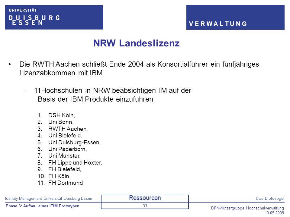Identity Management Universität Duisburg EssenUwe Blotevogel V E R W A L T U N G DFN-Nutzergruppe Hochschulverwaltung 10.05.2005 33 NRW Landeslizenz D