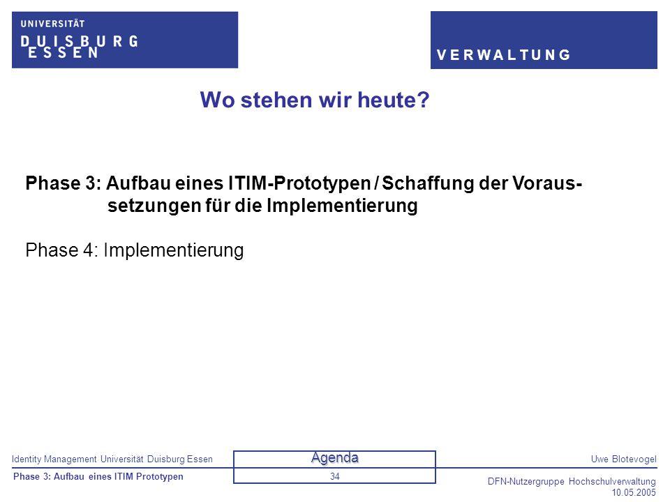 Identity Management Universität Duisburg EssenUwe Blotevogel V E R W A L T U N G DFN-Nutzergruppe Hochschulverwaltung 10.05.2005 34 Wo stehen wir heut