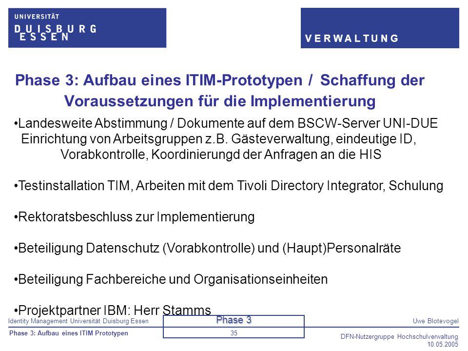 Identity Management Universität Duisburg EssenUwe Blotevogel V E R W A L T U N G DFN-Nutzergruppe Hochschulverwaltung 10.05.2005 35 Phase 3: Aufbau ei