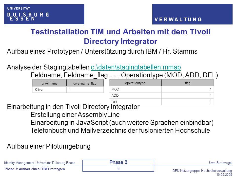 Identity Management Universität Duisburg EssenUwe Blotevogel V E R W A L T U N G DFN-Nutzergruppe Hochschulverwaltung 10.05.2005 36 Aufbau eines Proto