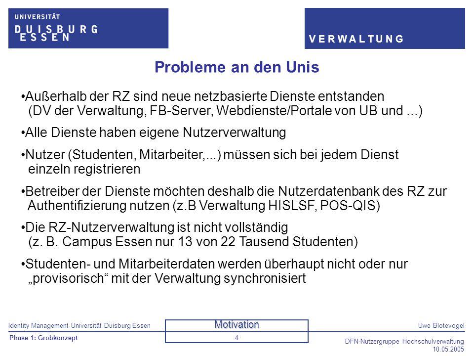 Identity Management Universität Duisburg EssenUwe Blotevogel V E R W A L T U N G DFN-Nutzergruppe Hochschulverwaltung 10.05.2005 4 Probleme an den Uni
