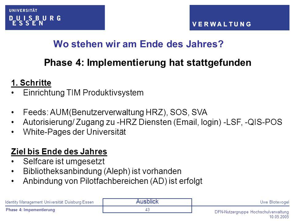 Identity Management Universität Duisburg EssenUwe Blotevogel V E R W A L T U N G DFN-Nutzergruppe Hochschulverwaltung 10.05.2005 43 Wo stehen wir am E