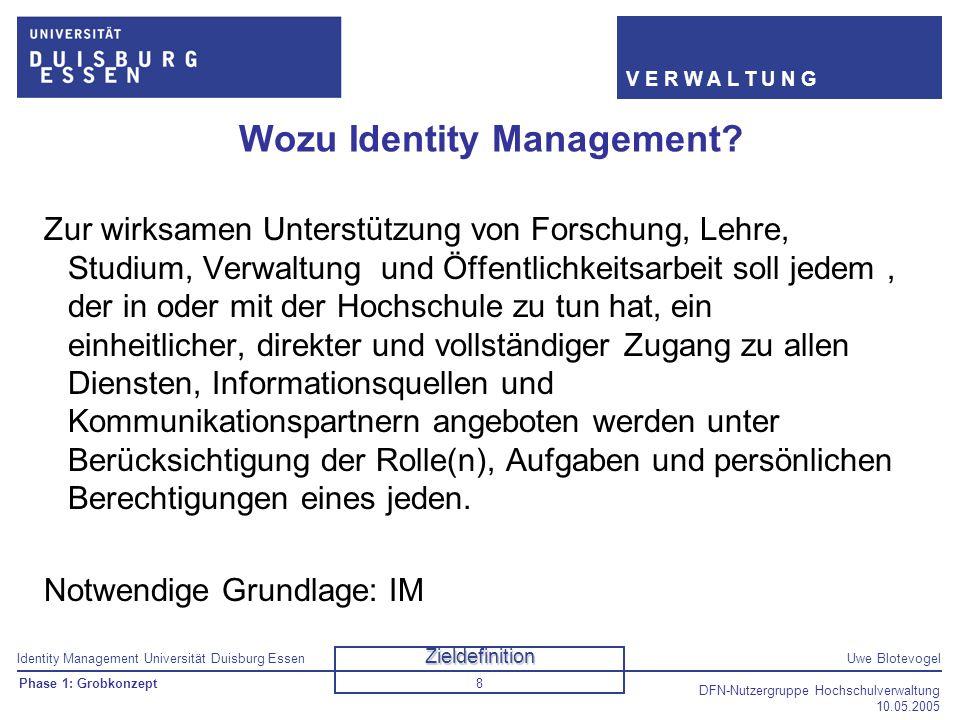 Identity Management Universität Duisburg EssenUwe Blotevogel V E R W A L T U N G DFN-Nutzergruppe Hochschulverwaltung 10.05.2005 8 Wozu Identity Manag