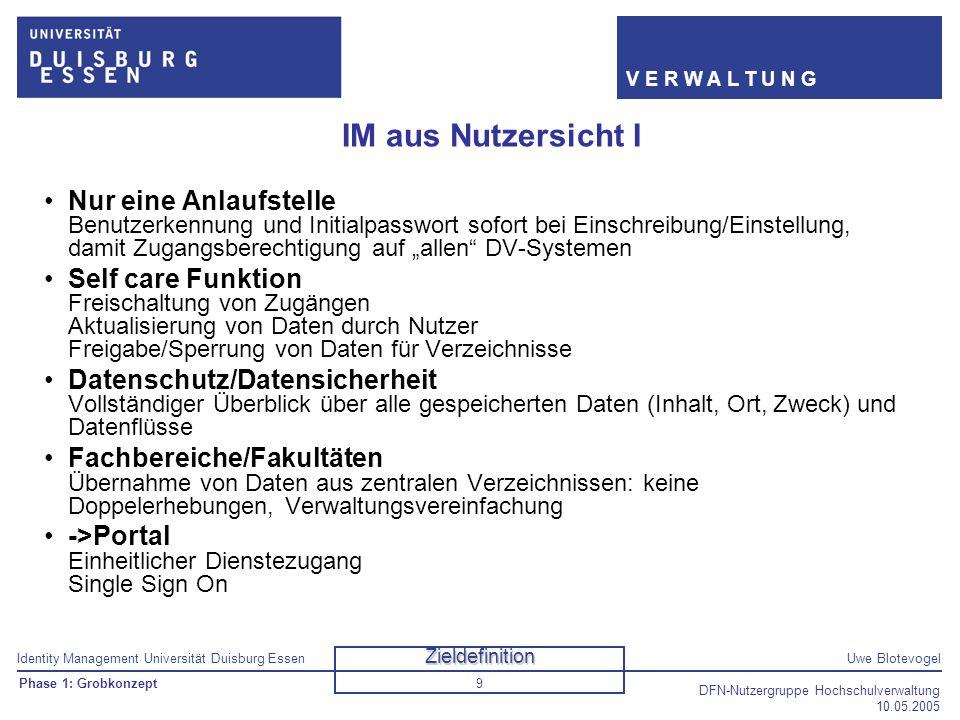 Identity Management Universität Duisburg EssenUwe Blotevogel V E R W A L T U N G DFN-Nutzergruppe Hochschulverwaltung 10.05.2005 9 IM aus Nutzersicht