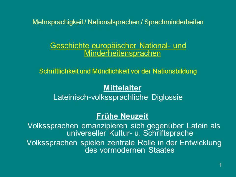 1 Mehrsprachigkeit / Nationalsprachen / Sprachminderheiten Geschichte europäischer National- und Minderheitensprachen Schriftlichkeit und Mündlichkeit